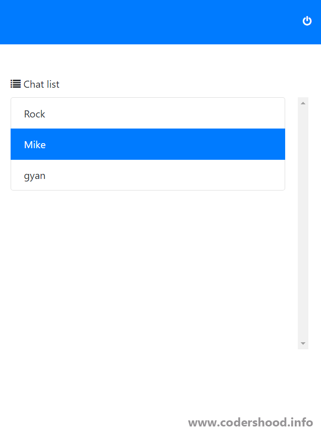 Real Time chatting app chatlist