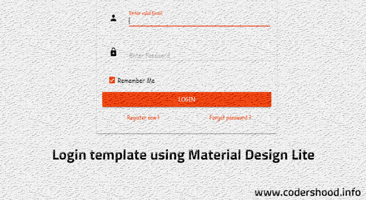 Login Template Using Material Design Lite Mdl Codershood