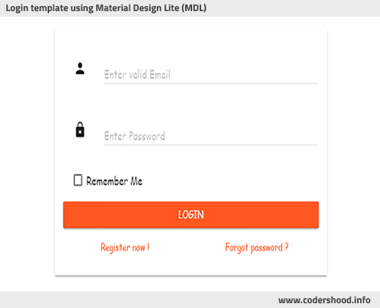 Login template using Material Design Lite (MDL)