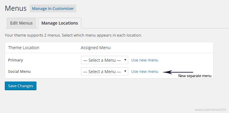 Add widget area in WordPress Theme new menu