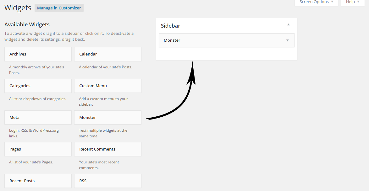 Creating custom sidebar wordpress moster widget installation
