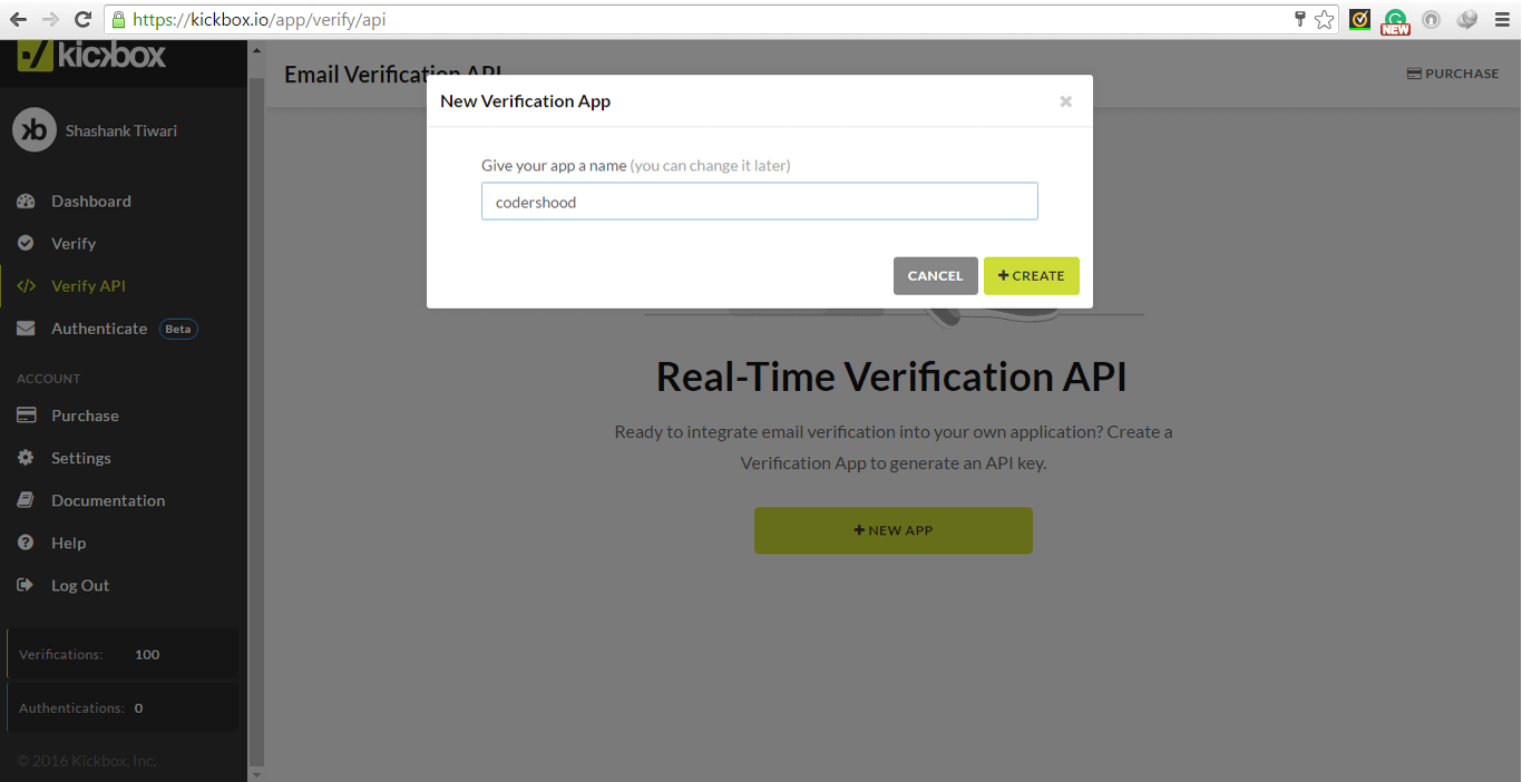 Email existence check using nodejs kickbox verification api create new app
