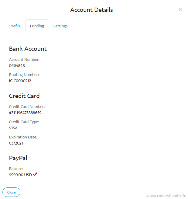 PayPal account funding