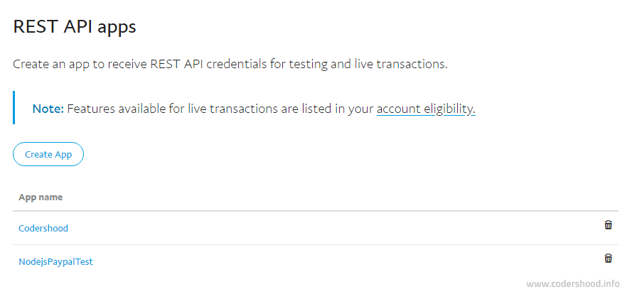 PayPal created application