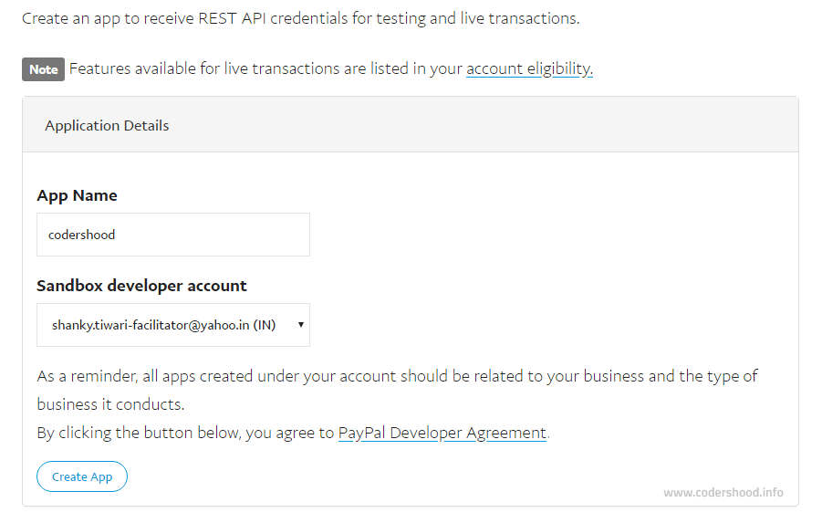 PayPal creating application
