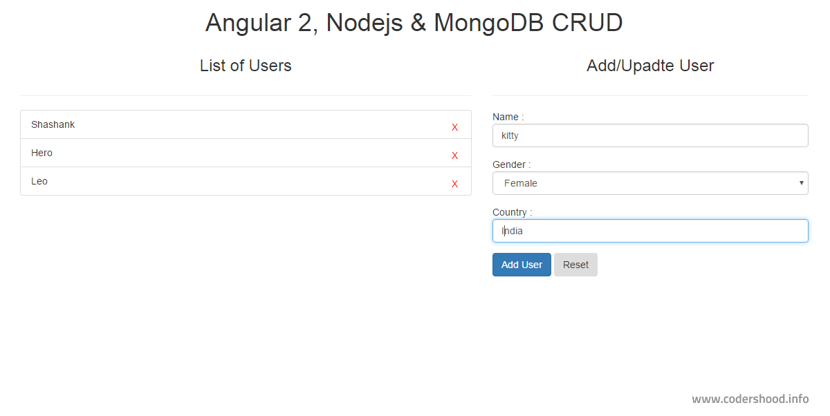 Angular 2 CRUD application using Nodejs demo