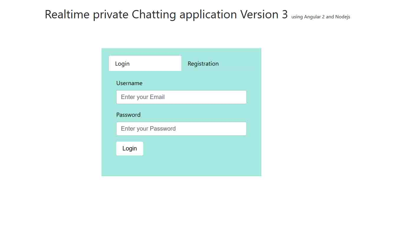 Real time private chatting app angular 2 login page