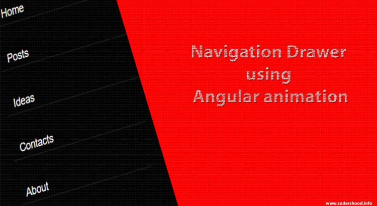 Navigation drawer using angular 4 animation cover