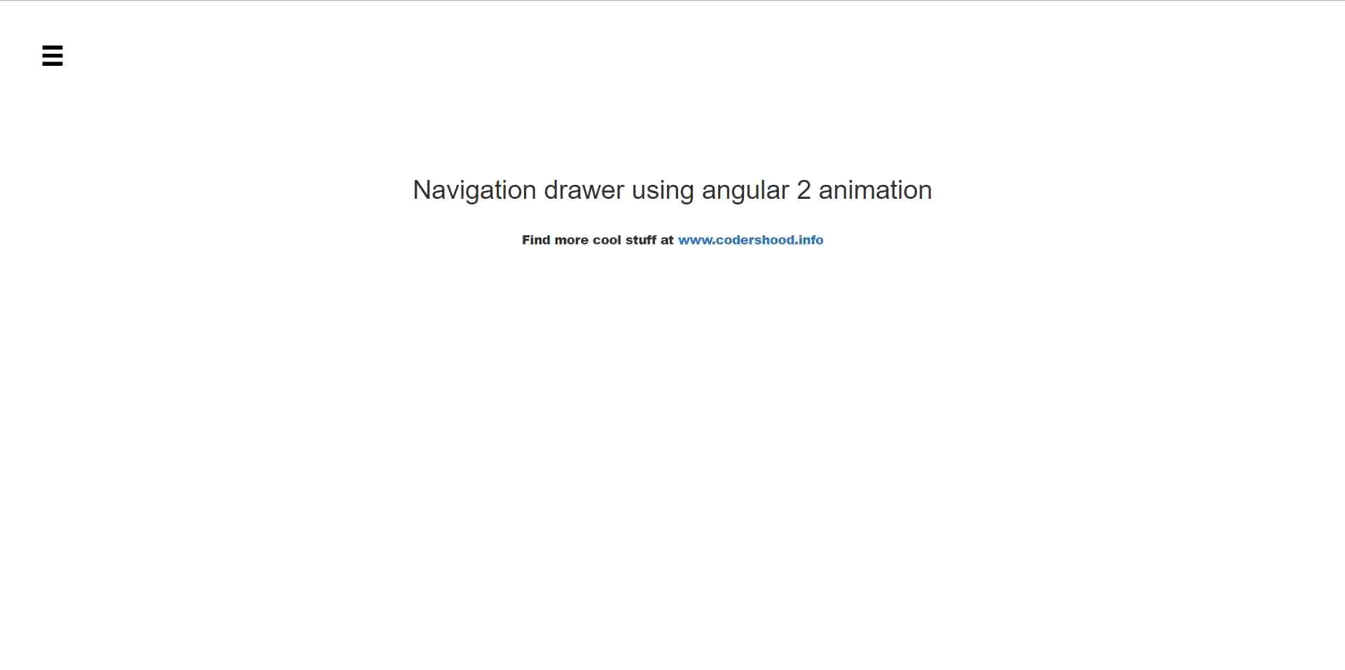 Navigation drawer using angular 4 animation